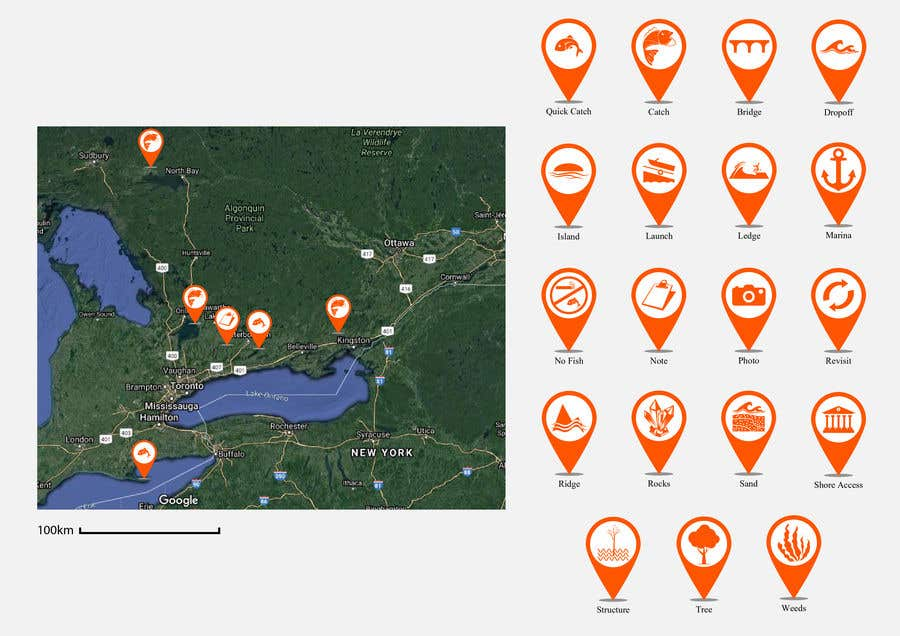 Penyertaan Peraduan #                                        4                                      untuk                                         Design map markers for the following features