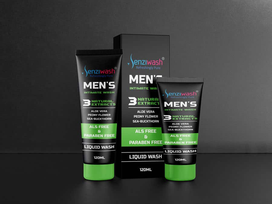 Конкурсная заявка №                                        28                                      для                                         Design carton and tube label for male intimate wash and create mock up