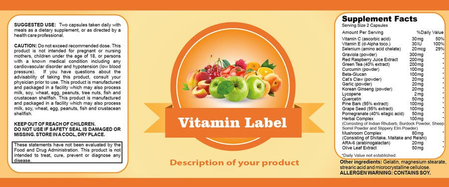 Penyertaan Peraduan #46 untuk Creating Vitamin Bottle Labels - Will pick 10 Winners