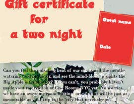 #6 for Design a Gift certificate fot a Hotel stay for 2 nights af sanaakram161