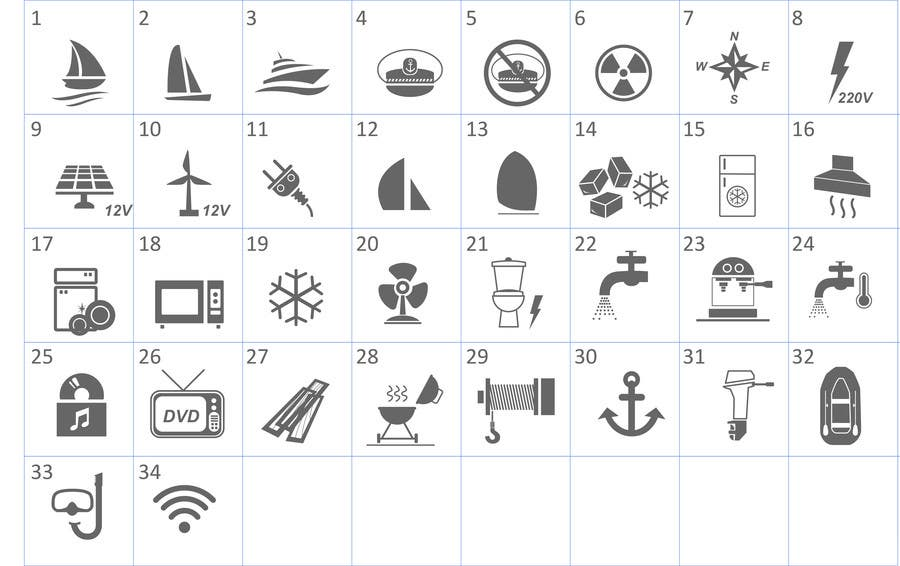 Proposition n°                                        6                                      du concours                                         Pictograms for a Boat Booking Website