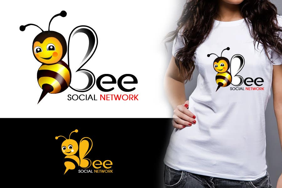 Kilpailutyö #265 kilpailussa Logo Design for Logo design social networking. Bee.Textual.Illustrative.Iconic