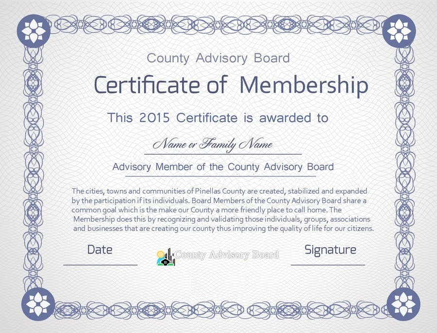 Contest Entry #25 for Design a membership certificate