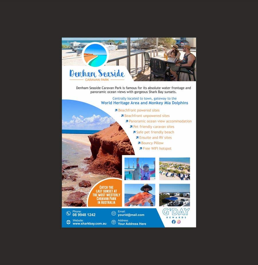 Bài tham dự cuộc thi #                                        55                                      cho                                         Design a Magazine Advertisement for Denham Seaside Caravan Park - 16/06/2021 02:48 EDT