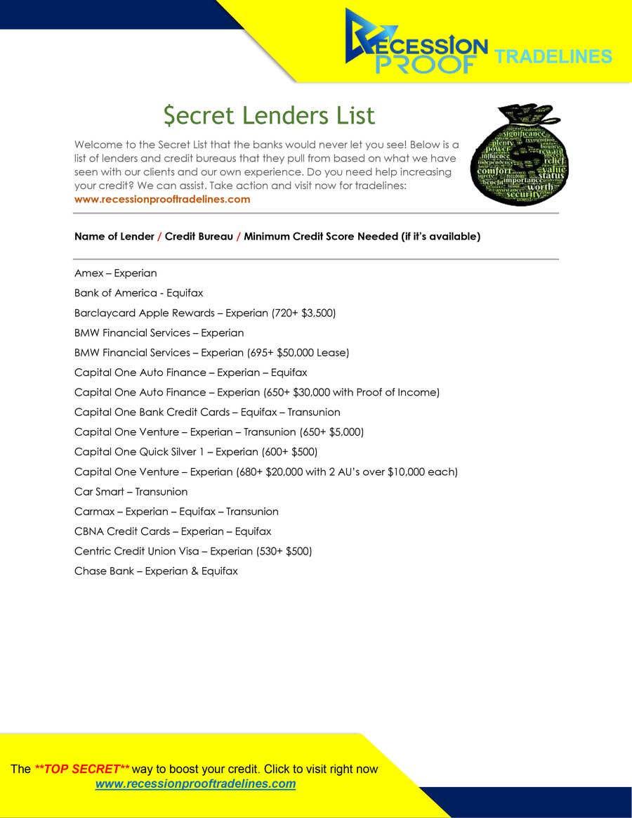 Penyertaan Peraduan #                                        1                                      untuk                                         Build me a Secret Lenders List