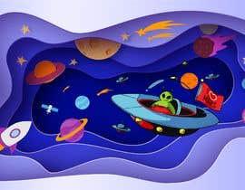 Nro 110 kilpailuun Beautiful cartoon outer space theme illustration designed for Children helmets käyttäjältä panjamon
