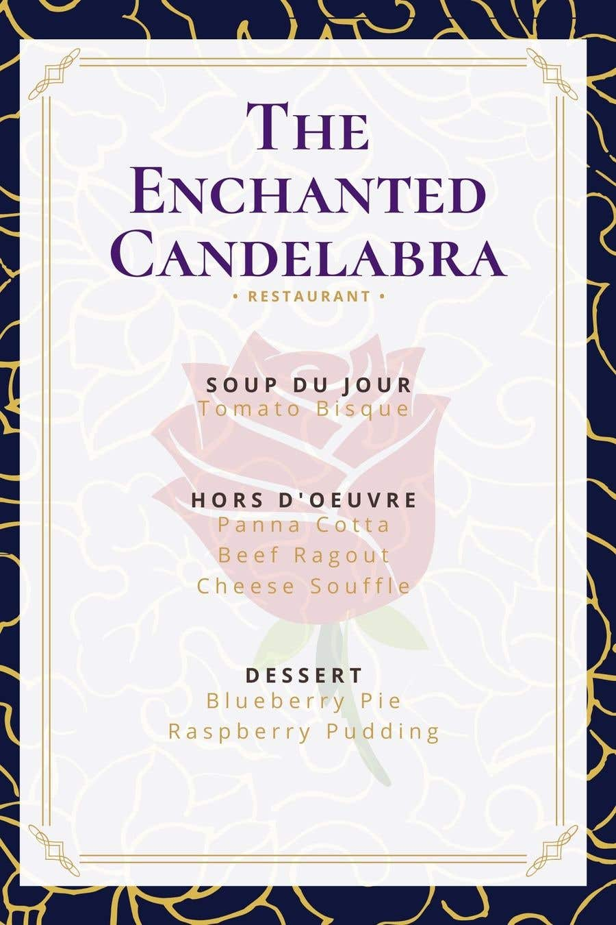 """Contest Entry #                                        13                                      for                                         Menu Beauty and the Beast """"The Enchanted Candelabra"""""""