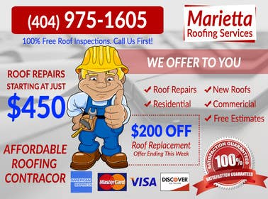 #11 for Design a Banner for Marietta Roofing Services af goranjokanovic
