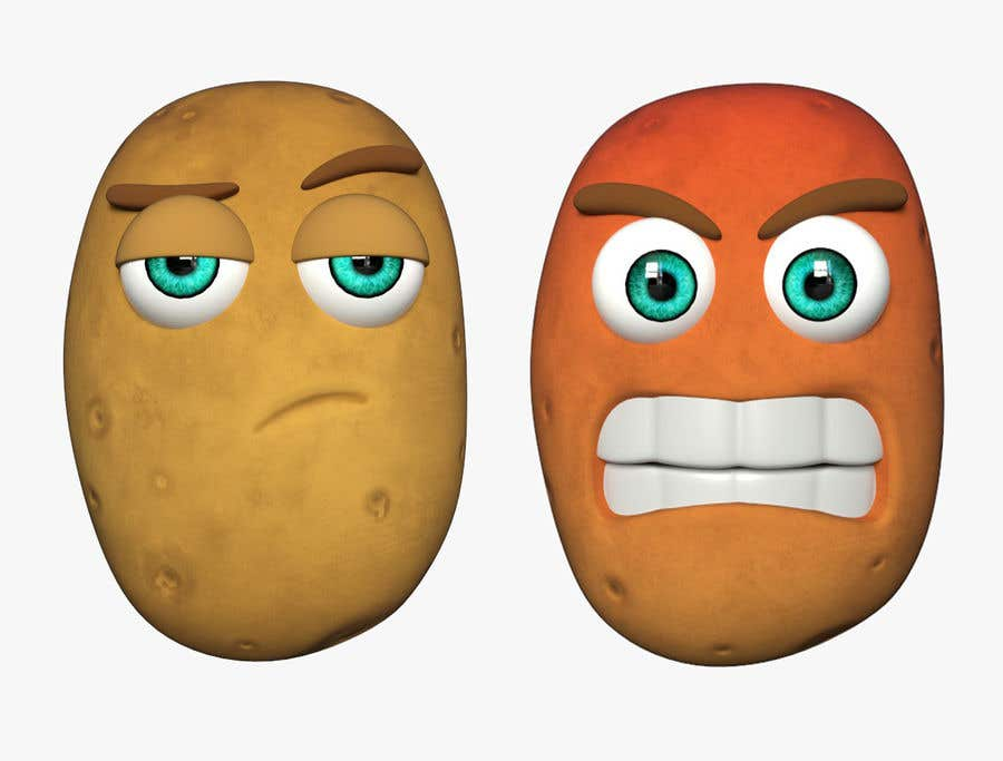 Kilpailutyö #                                        6                                      kilpailussa                                         Two 2D potatoes with faces for use in a mobile UNITY game. Export through BLENDER.