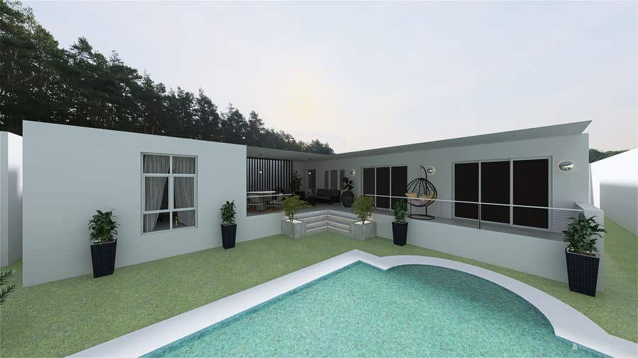 Kilpailutyö #                                        4                                      kilpailussa                                         Building a covered terrace with room for office & bathroom + laundry & storage area