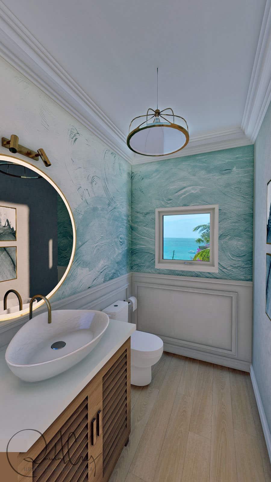 Bài tham dự cuộc thi #                                        44                                      cho                                         Half bath interior design in 3d - coastal transitional design style