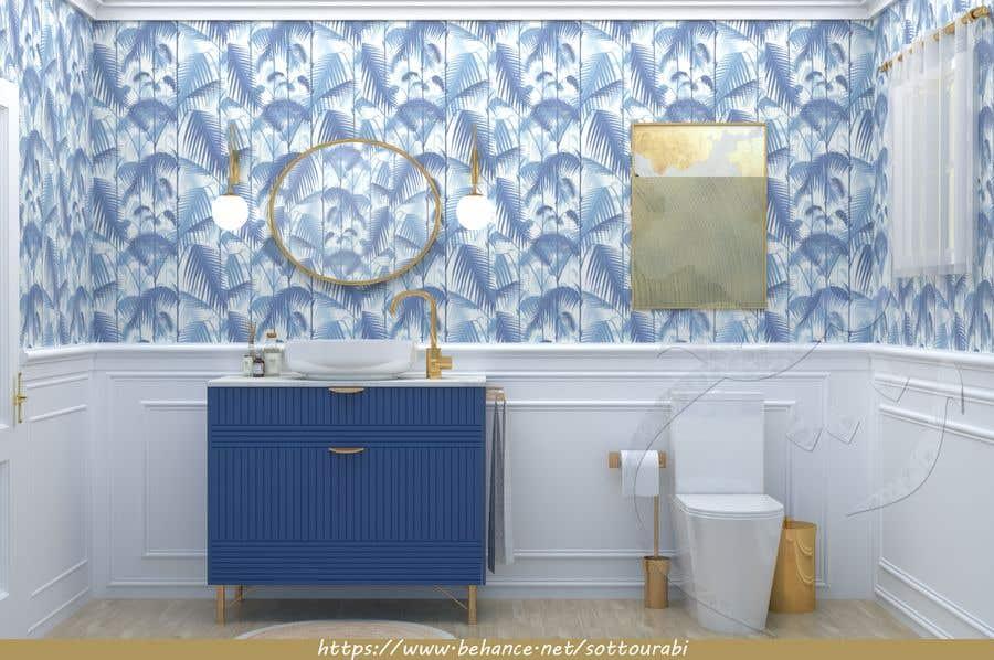 Bài tham dự cuộc thi #                                        35                                      cho                                         Half bath interior design in 3d - coastal transitional design style