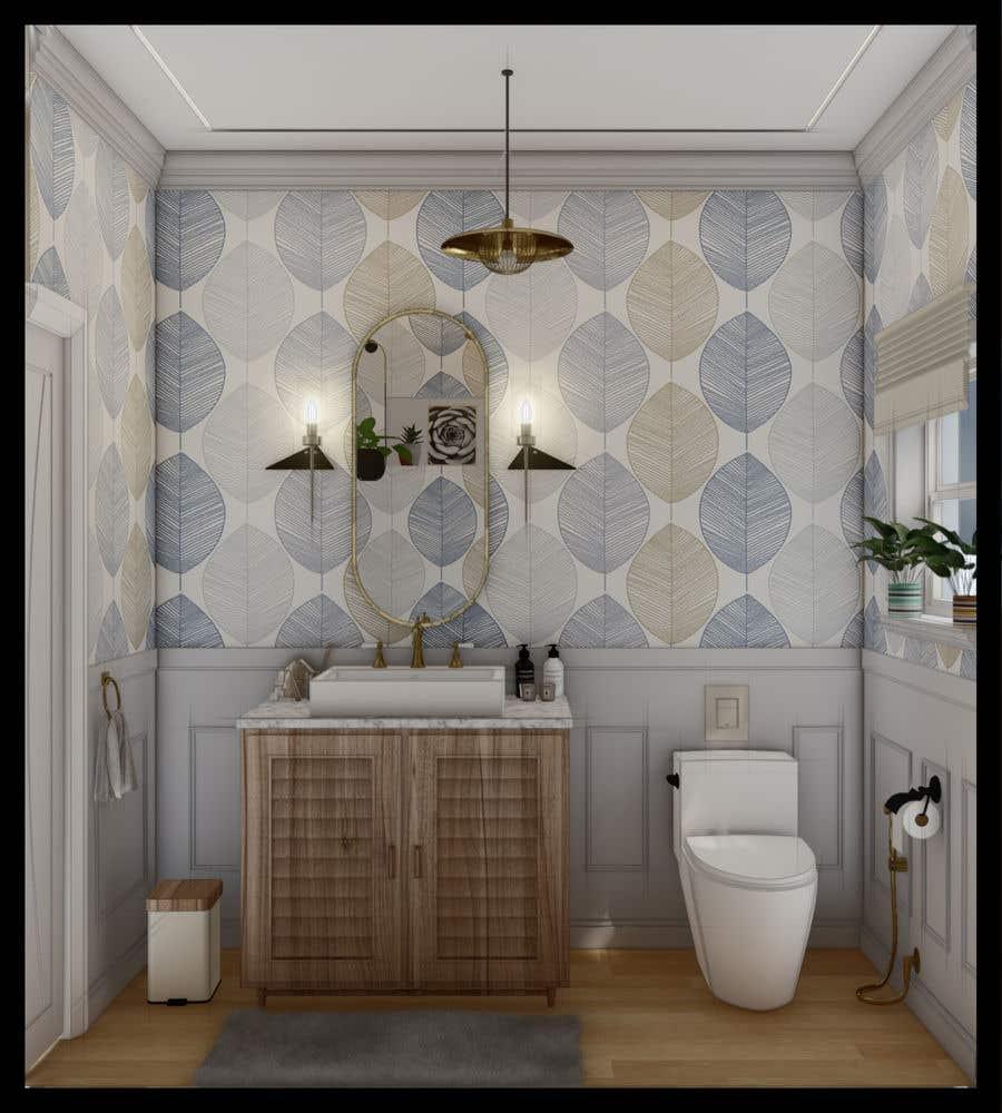 Bài tham dự cuộc thi #                                        31                                      cho                                         Half bath interior design in 3d - coastal transitional design style
