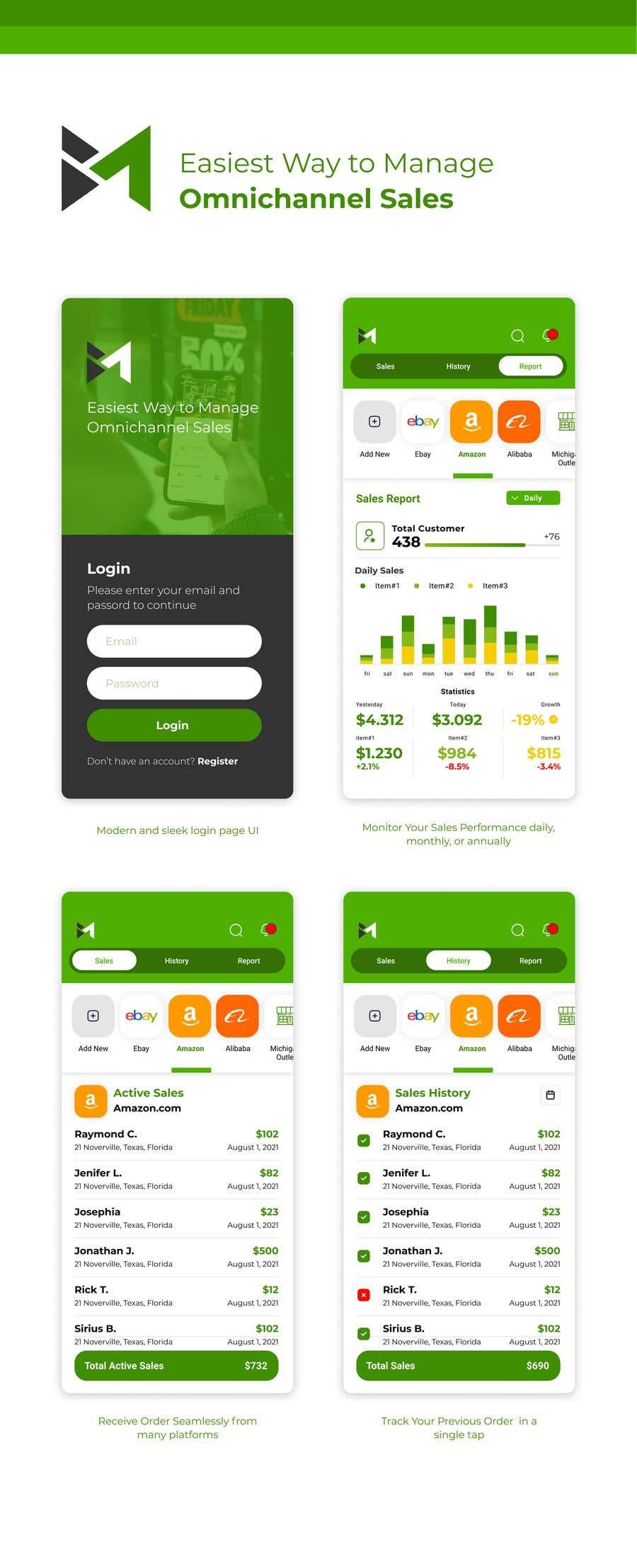 Kilpailutyö #                                        44                                      kilpailussa                                         UI & UX Custom Design for App (Business Manager ERP System)