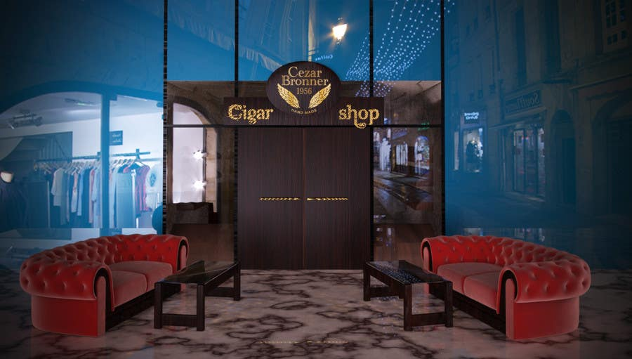 Contest Entry #                                        6                                      for                                         Front face render of a Cigar Lounge.