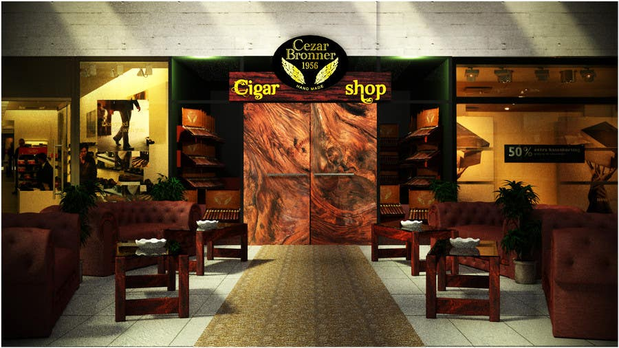 Contest Entry #                                        7                                      for                                         Front face render of a Cigar Lounge.