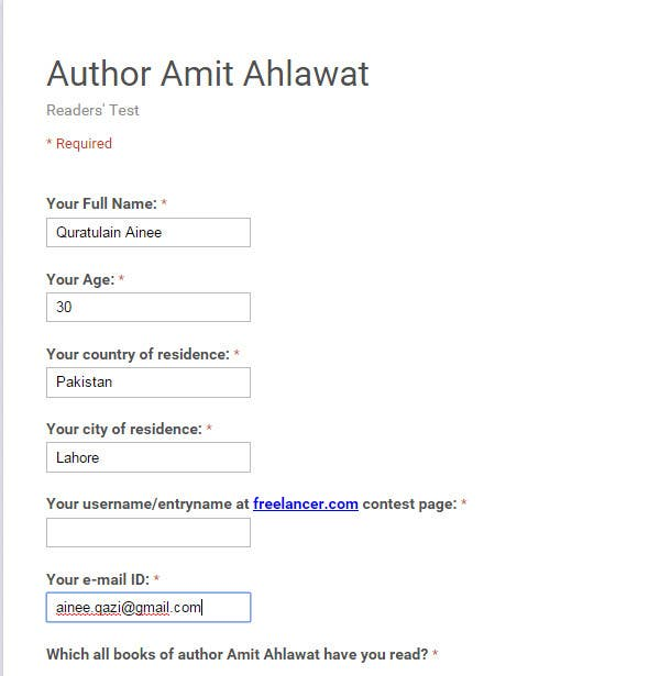 Contest Entry #                                        5                                      for                                         Author Amit Ahlawat Readership Test