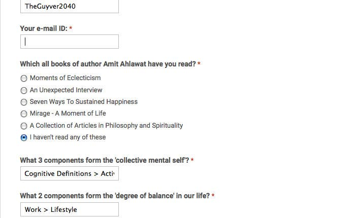 Contest Entry #                                        1                                      for                                         Author Amit Ahlawat Readership Test
