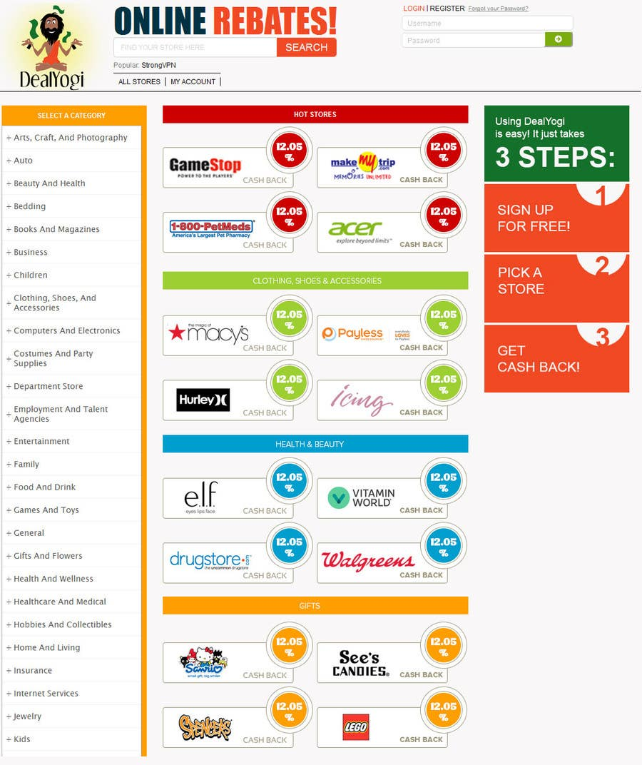 Proposition n°2 du concours Design a Website Mockup for Main Page of Deals Site