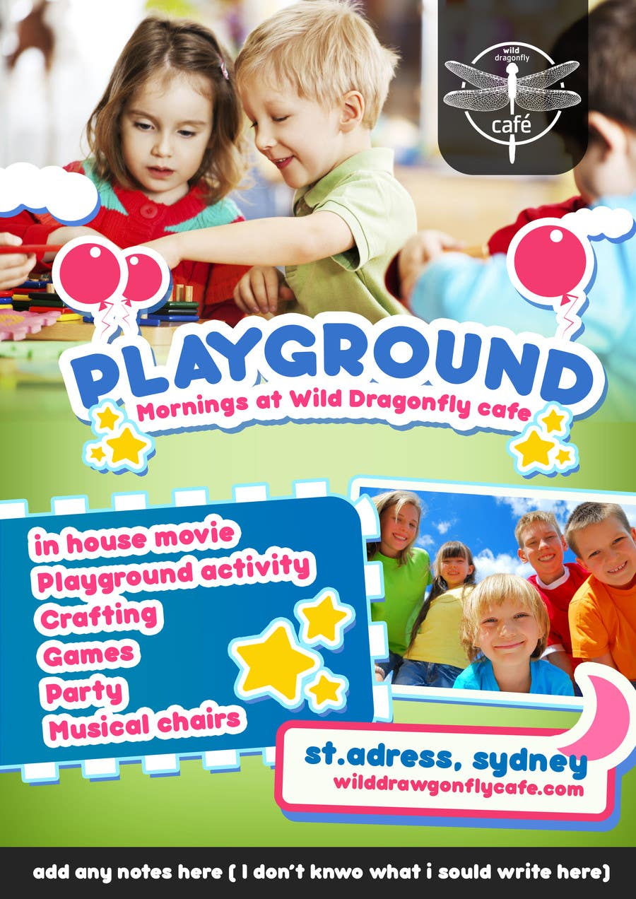 Konkurrenceindlæg #                                        13                                      for                                         Design a Flyer for Cafe for Pop Up Playgroup Activities