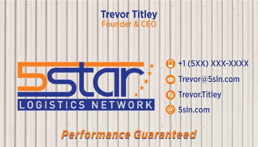 Contest Entry #                                        16                                      for                                         Design some Business Cards for 5 Star Logistics Network