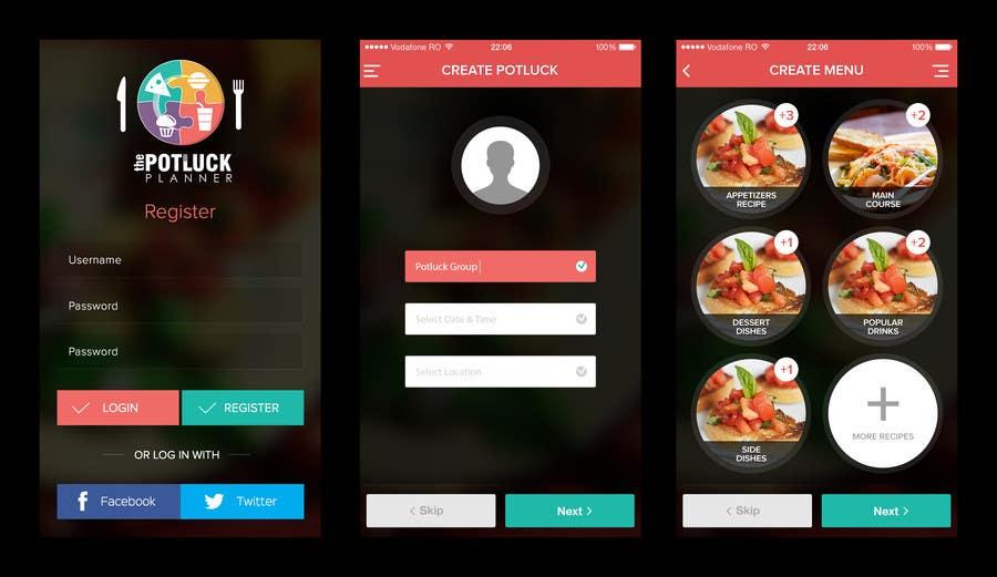 Konkurrenceindlæg #13 for Design an App Mockup for 'The Potluck Planner'