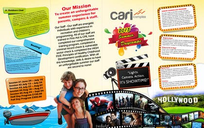 #33 untuk Design a Fun Daycamp brochure themed around 'SHOWTIME' oleh msdvenkat