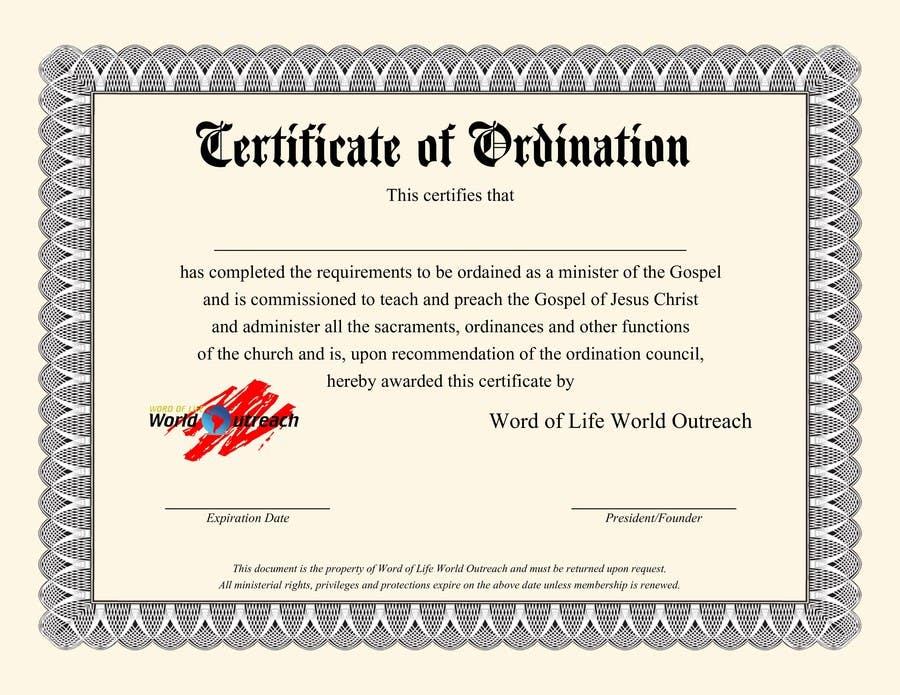 Bài tham dự cuộc thi #19 cho Design a Ordination Cirtifcate