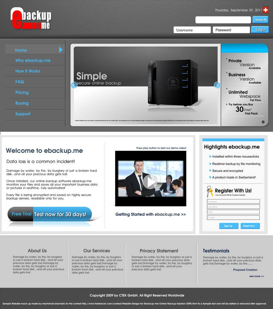 Конкурсная заявка №41 для Website Design for Ebackup.me Online Backup Solution