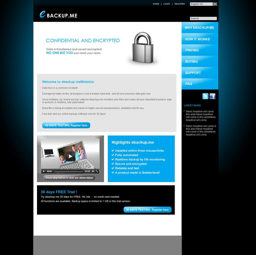 Конкурсная заявка №103 для Website Design for Ebackup.me Online Backup Solution