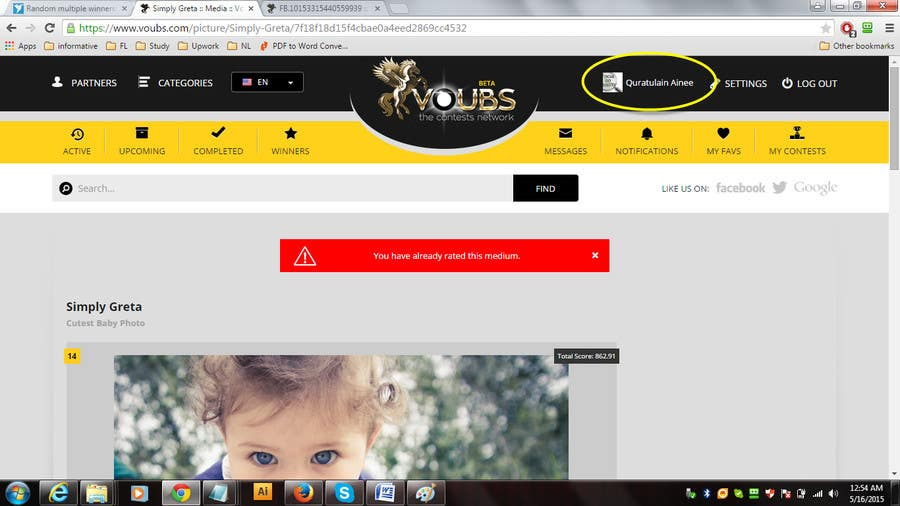 Penyertaan Peraduan #67 untuk Random multiple winners!!! -Vote for me and post a screenshot