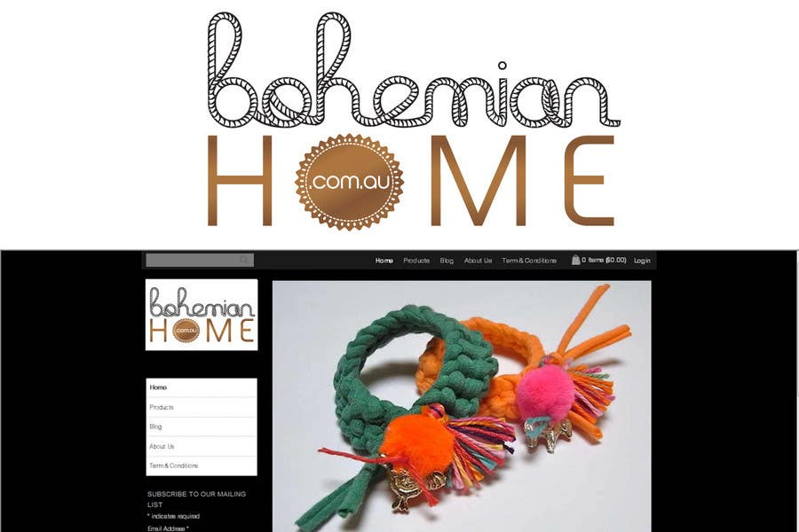 Kilpailutyö #                                        172                                      kilpailussa                                         LOGO design for www.bohemianhome.com.au