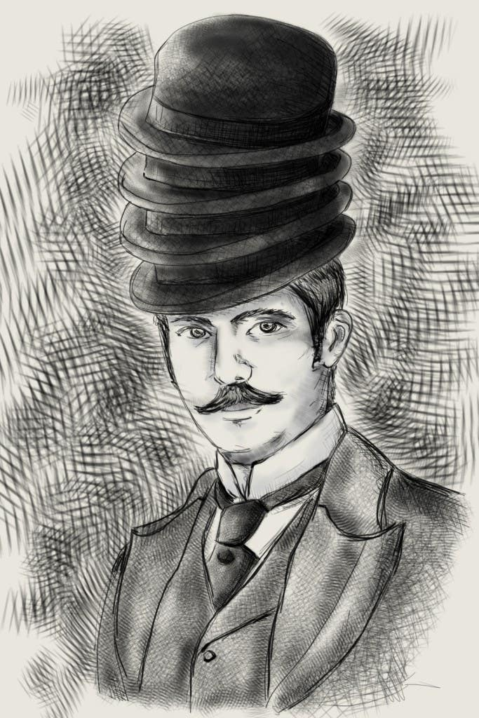 Konkurrenceindlæg #                                        9                                      for                                         Create a Portrait Drawing of a late 19th Century Man wearing Multiple Bowler Hats