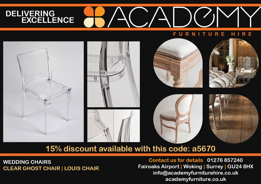 """Konkurrenceindlæg #                                        8                                      for                                         Wedding Show """"Product & Discount Flyer"""" - Academy Furniture Hire"""