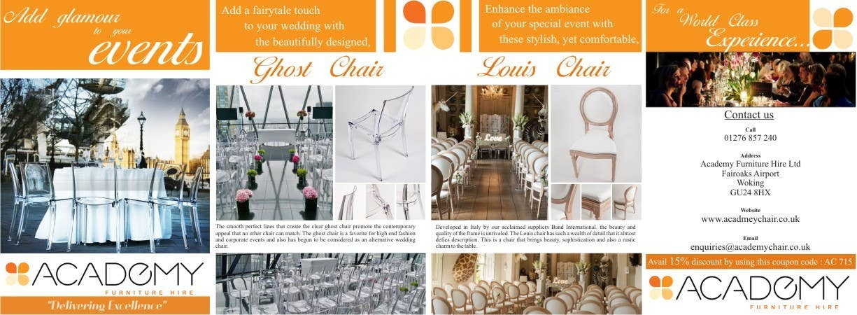 """Konkurrenceindlæg #                                        2                                      for                                         Wedding Show """"Product & Discount Flyer"""" - Academy Furniture Hire"""