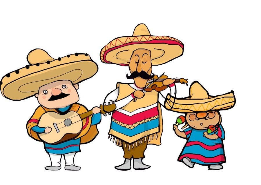 illustration of 3 cartoon mexican guys freelancer