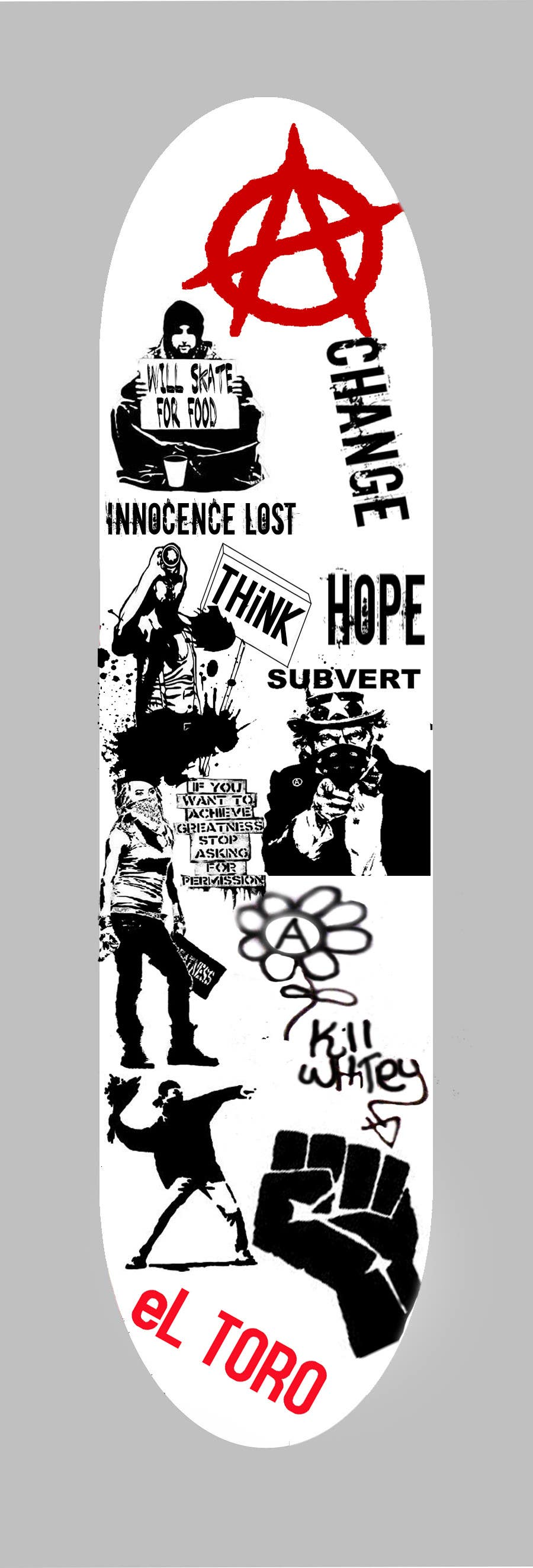 Bài tham dự cuộc thi #                                        10                                      cho                                         Skateboard collage style design with an anarchy theme (pictures provided)