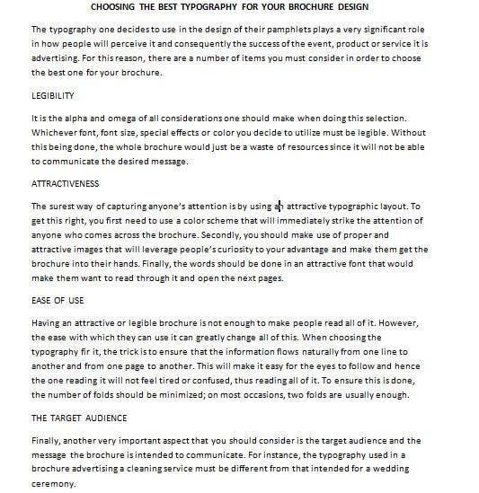 "Penyertaan Peraduan #5 untuk Write an article about ""Choosing the Best Typography For Your Brochure Design"""