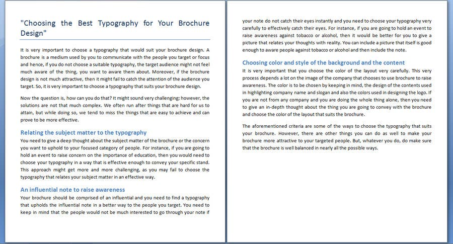 "Penyertaan Peraduan #6 untuk Write an article about ""Choosing the Best Typography For Your Brochure Design"""