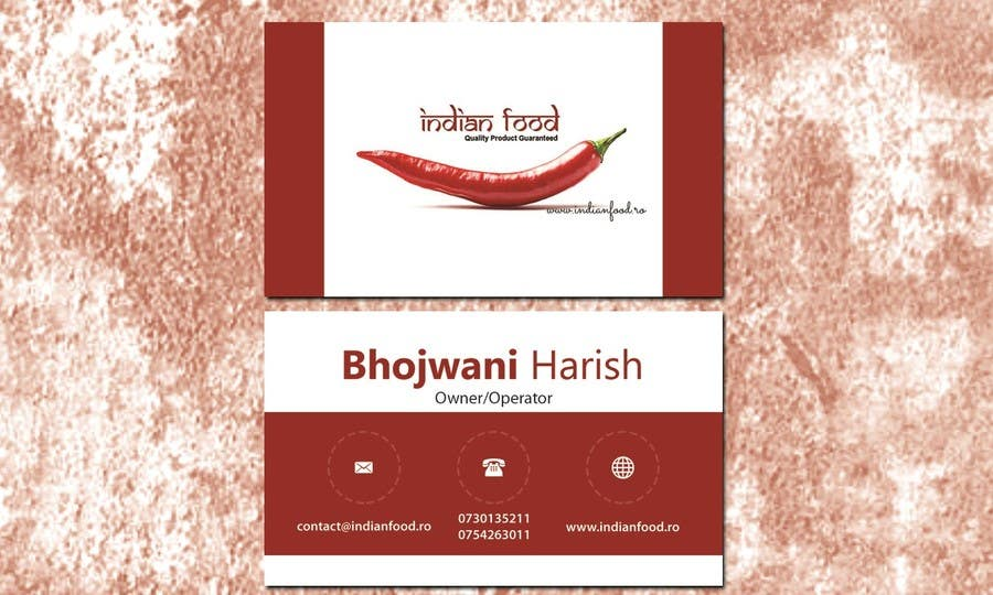 Kilpailutyö #30 kilpailussa Design some Business Cards for www.indianfood.ro