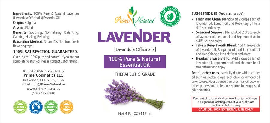 Inscrição nº 39 do Concurso para Design Product Label & refine existing logo: Essential Oil Bottle label