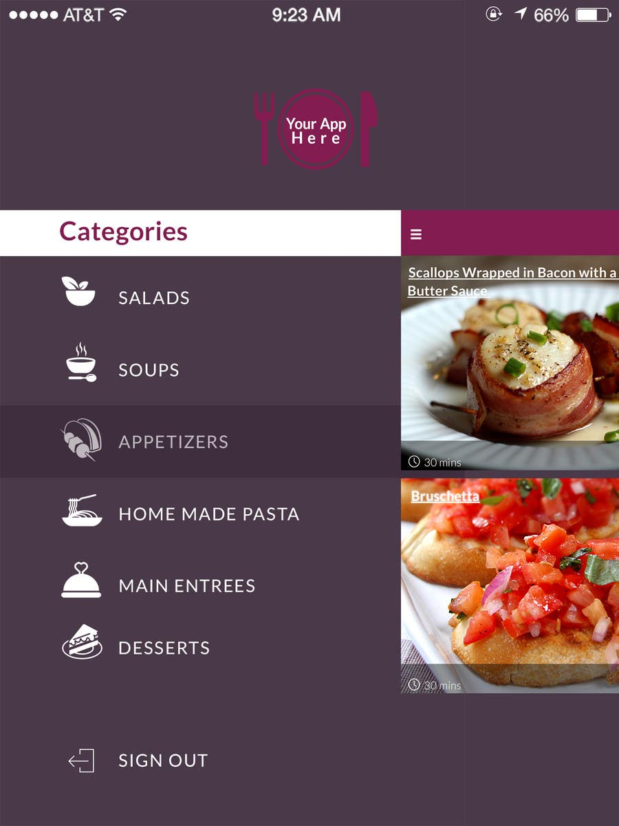 Design an app mockup for ipad restaurant menu freelancer