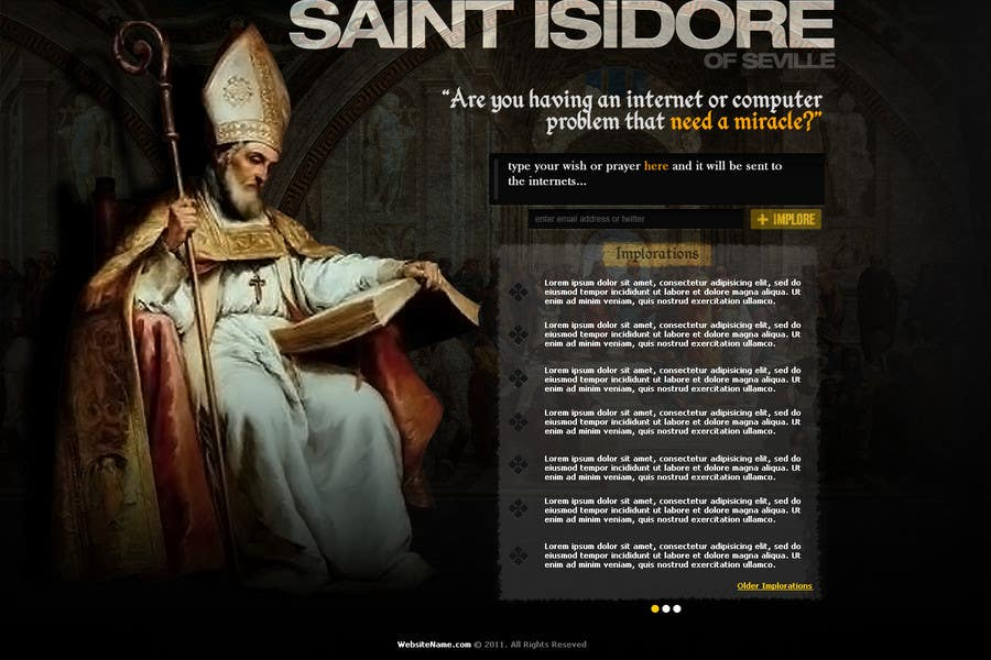 Contest Entry #                                        22                                      for                                         Graphic Design for One page web site for the Saint Of the Internet: St. Isidore of Seville