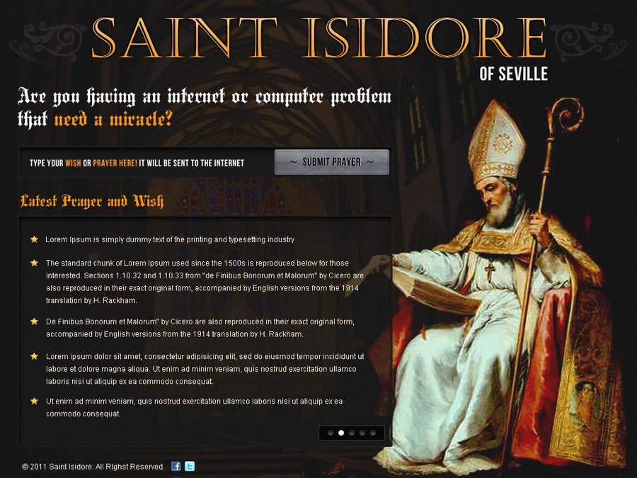 Contest Entry #                                        16                                      for                                         Graphic Design for One page web site for the Saint Of the Internet: St. Isidore of Seville
