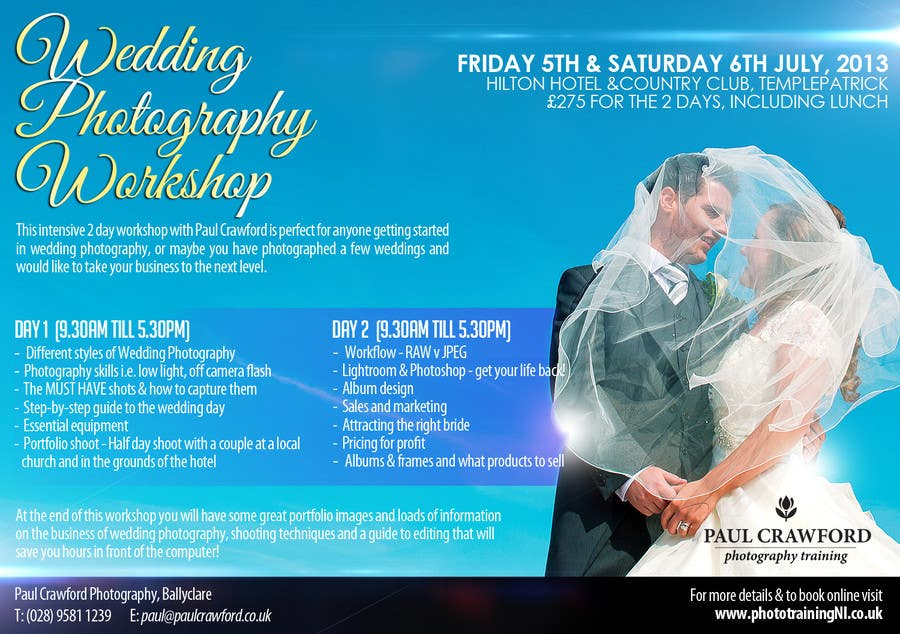 Penyertaan Peraduan #26 untuk Design a Flyer for my wedding photography workshops