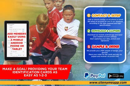 #10 for Design a 4x6 Flyer for Kids Soccer Club & Church identity cards af johanfcb0690