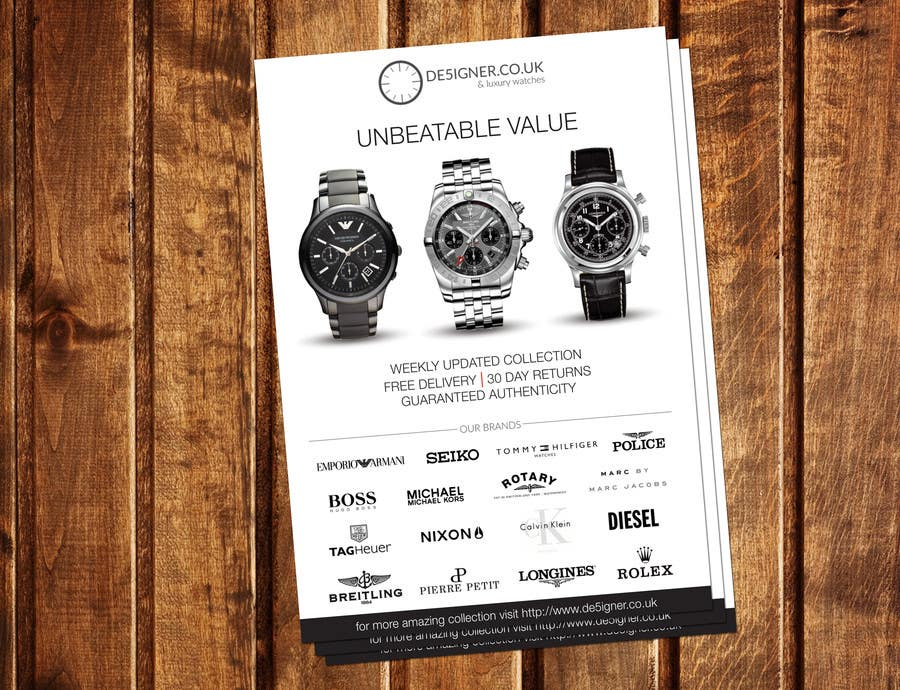 Penyertaan Peraduan #16 untuk Design a Flyer for a luxury watch store