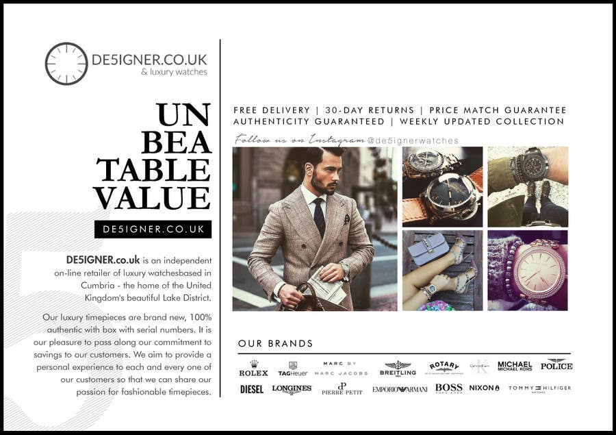 Penyertaan Peraduan #27 untuk Design a Flyer for a luxury watch store