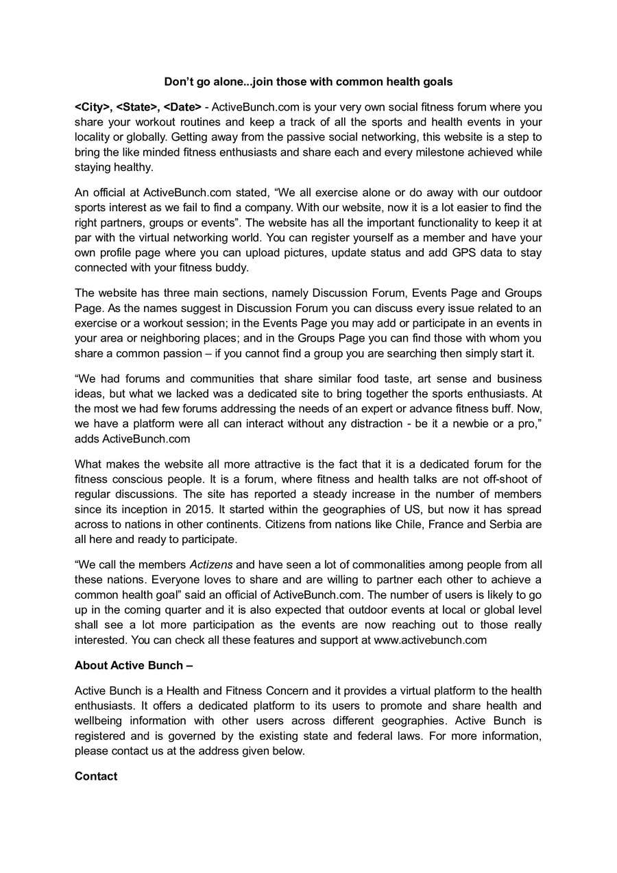 Inscrição nº 6 do Concurso para New Startup Press Release