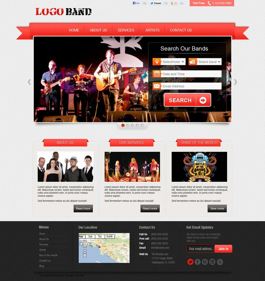 Bài tham dự cuộc thi #7 cho Design a Website for Music Band introduction site